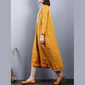 Elegant yellow  pure linen dresses   plus size linen maxi dress o neck top quality patchwork cotton dress