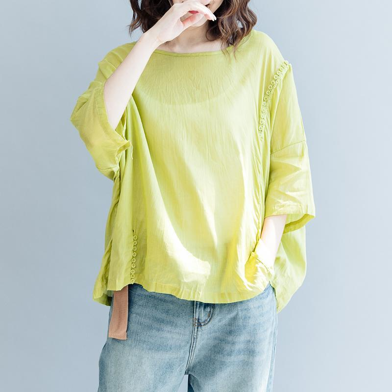 Elegant yellow cotton linen pullover trendy plus size traveling blouse Fine short sleeve O neck asymmetric brief t shirt