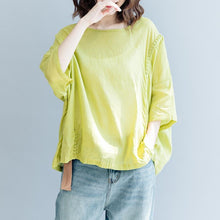 Load image into Gallery viewer, Elegant yellow cotton linen pullover trendy plus size traveling blouse Fine short sleeve O neck asymmetric brief t shirt