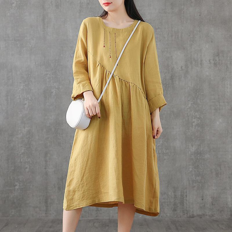 Elegant yellow embroidery linen Wardrobes patchwork Vestidos De Lino Dress