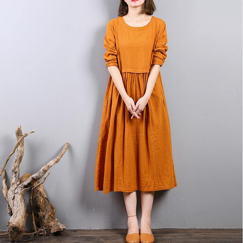 Elegant yellow linen shift dresses Loose fitting linen clothing dresses o neck 2018 patchwork autumn dress
