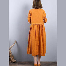 Load image into Gallery viewer, Elegant yellow linen shift dresses Loose fitting linen clothing dresses o neck 2018 patchwork autumn dress