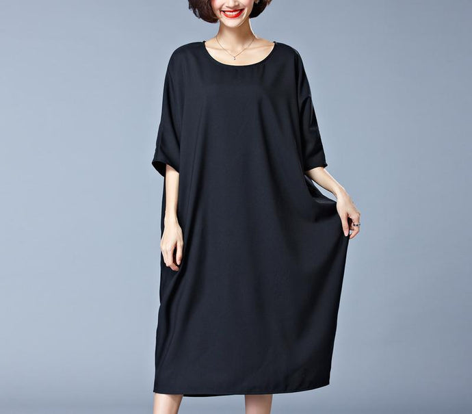 Elegant black Midi-length cotton dress plus size traveling clothing New o neck half sleeve cotton clothing dresses