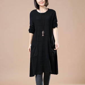 Elegant black knit dresses women sweaters