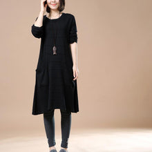 Laden Sie das Bild in den Galerie-Viewer, Elegant black knit dresses women sweaters