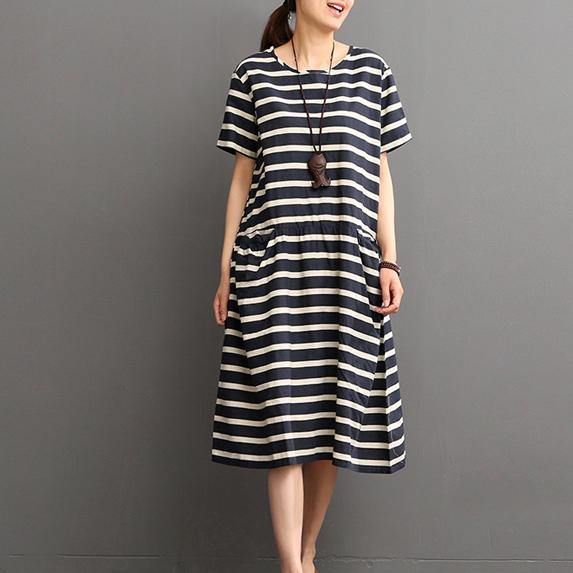 Elegant blue striped  linen shift dresses plus size linen maxi dress Fine o neck short sleeve linen dresses