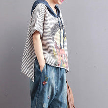 Load image into Gallery viewer, Elegant cotton blouses plus size clothing Hooded Stripe Printed Women Short Sleeve Tops