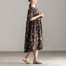 Load image into Gallery viewer, Elegant cotton caftans oversized Casual Short Sleeve Pockets Floral Pleated Lacing Dress