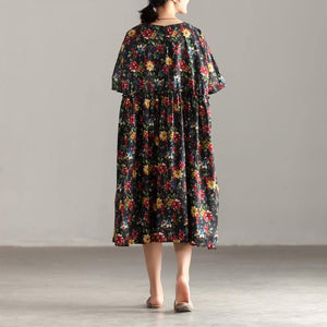Elegant cotton caftans oversized Casual Short Sleeve Pockets Floral Pleated Lacing Dress