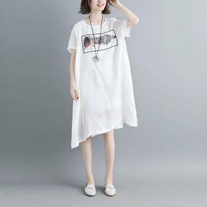 Elegant cotton dresses Loose fitting Casual Summer Short Sleeve White Pockets Slit Dress