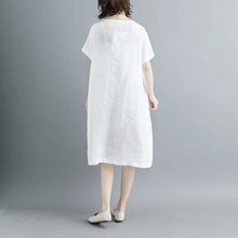 Load image into Gallery viewer, Elegant cotton dresses Loose fitting Casual Summer Short Sleeve White Pockets Slit Dress