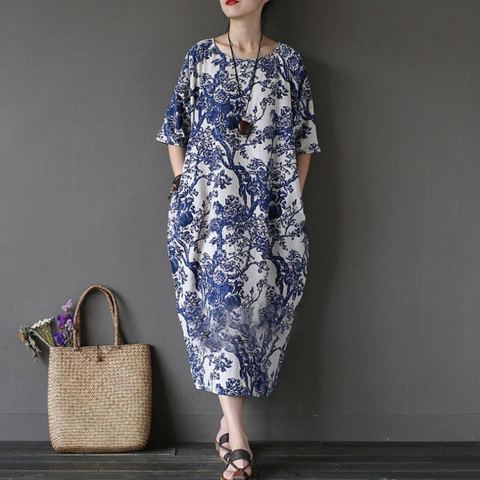 Elegant cotton gown oversize Cotton Linen Printed Loose Ethnic Half Sleeve Dress