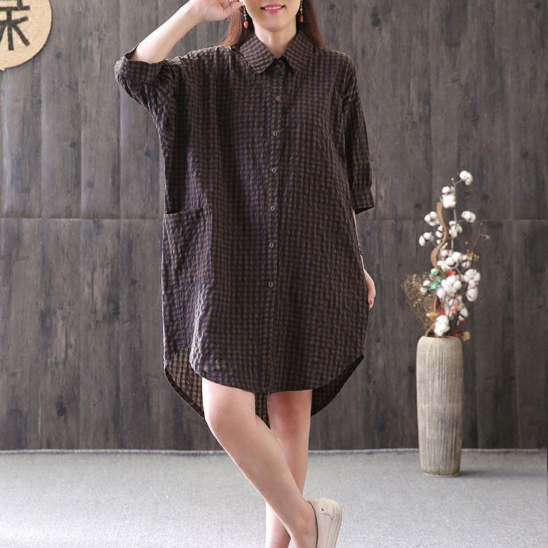 Elegant cotton tops plus size Loose Casual Plaid Single Breasted Women Coffee Shirt