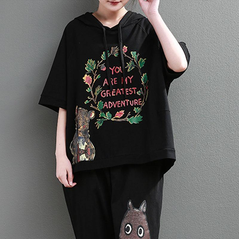 Elegant cotton tops plus size clothing Loose Cartoon Letter Printed Hoodie Women Black Tops