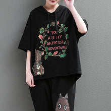 Load image into Gallery viewer, Elegant cotton tops plus size clothing Loose Cartoon Letter Printed Hoodie Women Black Tops