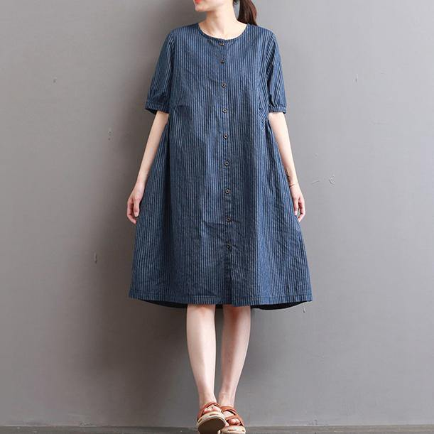 Elegant dark blue pure linen dresses   plus size holiday dresses Fine short sleeve o neck cotton clothing