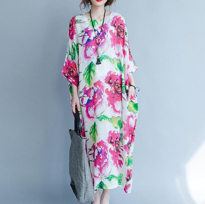 Elegant floral long cotton dress plus size batwing sleeve cotton dresses women o neck linen cotton dress