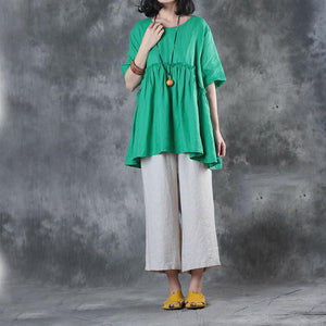 Elegant green linen blouse plus size clothing linen clothing tops Elegant short sleeve patchwork cotton clothing