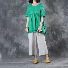 Load image into Gallery viewer, Elegant green linen blouse plus size clothing linen clothing tops Elegant short sleeve patchwork cotton clothing