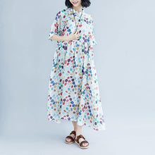 Load image into Gallery viewer, Elegant linen caftans oversized Casual Summer Short Sleeve Dots Pockets Dress