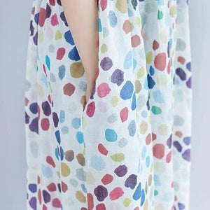 Elegant linen caftans oversized Casual Summer Short Sleeve Dots Pockets Dress