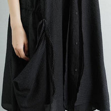 Load image into Gallery viewer, Elegant linen cotton dress plus size Summer Short Sleeve Stripe Pockets Fake Two-piece Black Dress