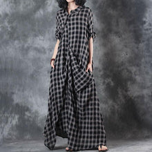 Load image into Gallery viewer, Elegant linen dresses trendy plus size Polo Collar Retro Summer Women Pullover Plaid Dress