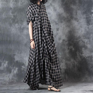 Elegant linen dresses trendy plus size Polo Collar Retro Summer Women Pullover Plaid Dress