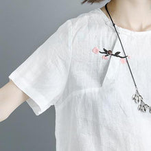 Load image into Gallery viewer, Elegant linen summer top oversized Embroidery Summer Short Sleeve White Casual Flower Tops