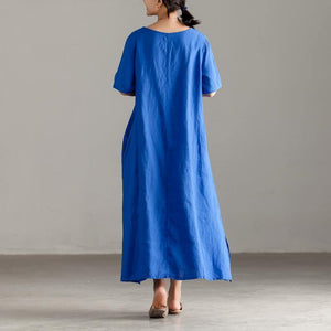Elegant linen sundress oversize Casual Slit Short Sleeve Embroidery Summer Blue Dress