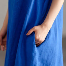 Load image into Gallery viewer, Elegant linen sundress oversize Casual Slit Short Sleeve Embroidery Summer Blue Dress