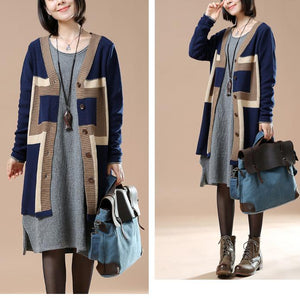 Elegant navy sweaters knit cardigans plus size coats