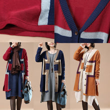 Laden Sie das Bild in den Galerie-Viewer, Elegant navy sweaters knit cardigans plus size coats