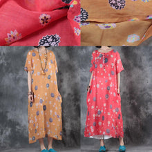 Load image into Gallery viewer, Elegant orange prints long linen dresses oversize short sleeve linen clothing dresses top quality side open kaftans