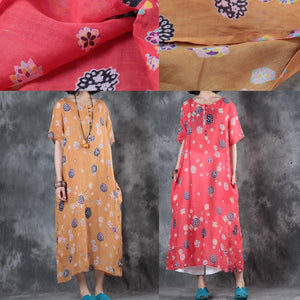 Elegant orange prints long linen dresses oversize short sleeve linen clothing dresses top quality side open kaftans