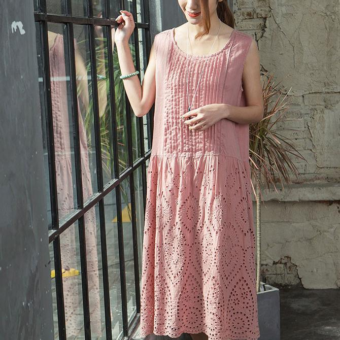 Elegant pink natural linen dress  Loose fitting traveling clothing boutique hollow out sleeveless cotton dress