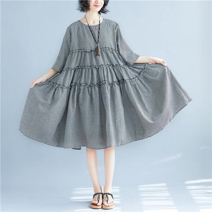 Elegant plaid linen maxi dress casual patchwork linen clothing dresses top quality bracelet sleeved kaftans
