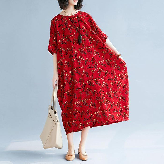Elegant red floral natural linen dress  casual o neck gown top quality short sleeve kaftans