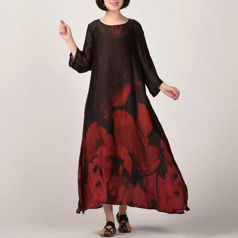 Elegant red prints natural silk dress  casual side open traveling clothing vintage o neck maxi dresses