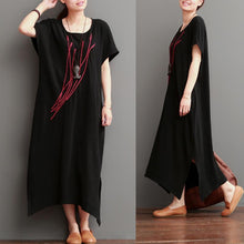Load image into Gallery viewer, Embroideried ears of rice black linen maxi dresses sundress