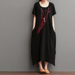 Embroideried ears of rice black linen maxi dresses sundress