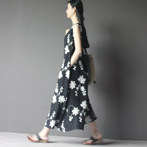Embroideried floral cotton summer maxi dress plus size sundress in black
