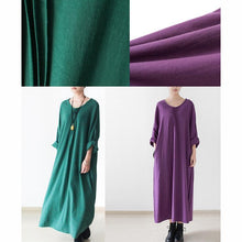 Load image into Gallery viewer, Emerald green plus size linen dresses long sleeve cotton dress