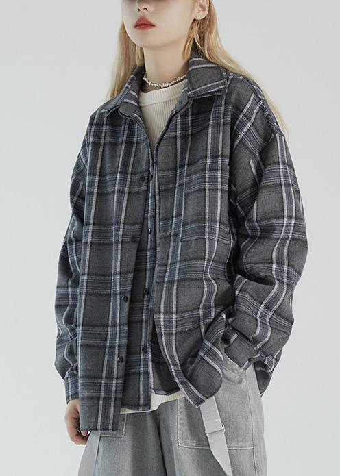 Fake two-piece plaid shirt women's autumn 2020 new coat loose jacket