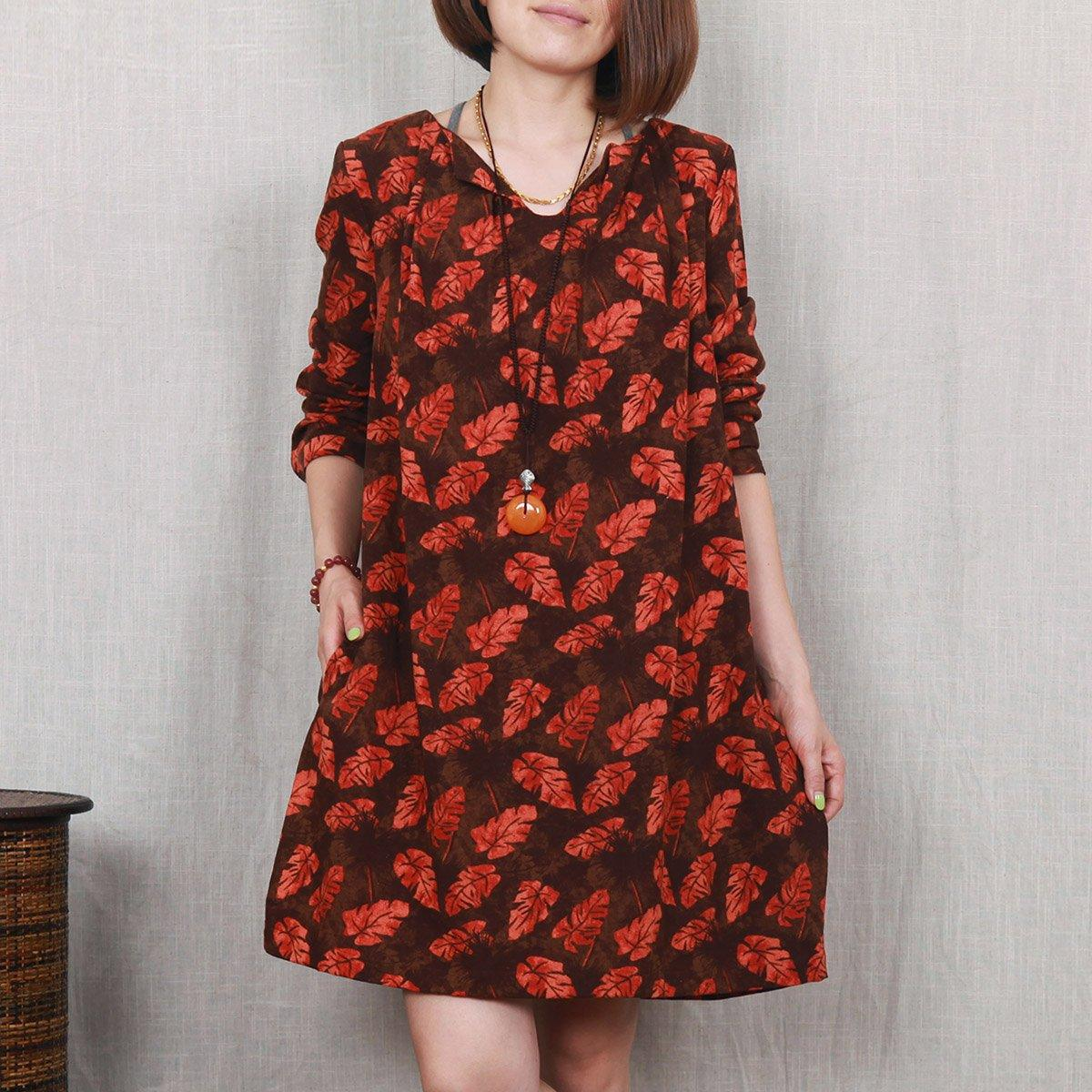 Falling leaves print linen shift dress oversize spring maternity dress red