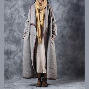Fashion Plaid maxi coat plus size clothing Turn-down Collar maxi coat Elegant double breasted trench coat