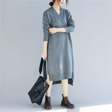 Load image into Gallery viewer, Fashion Sweater outfits v neck gray Funny knit dresses