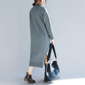 Fashion Sweater outfits v neck gray Funny knit dresses
