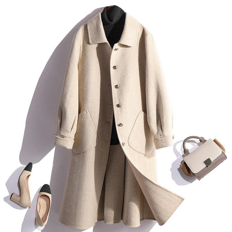 Fashion beige  wool coat for woman oversized winter coat fall jackets Peter pan Collar