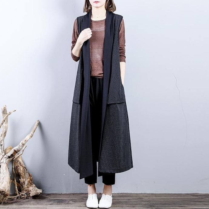 Fashion black  maxi coat casual back open trench coat boutique sleeveless cotton Coat